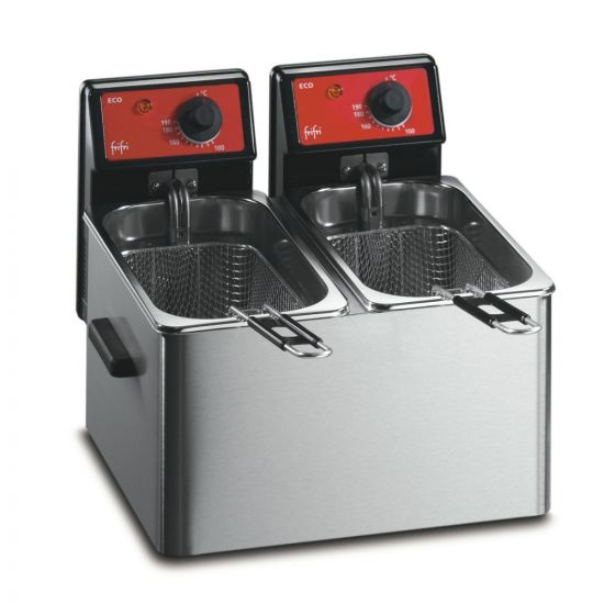 FriFri Eco 4 + 4 Electric Counter-top Twin Tank Fryer - 2 Baskets - W 384 Mm - 2 X 3.2 KW LIN 650103