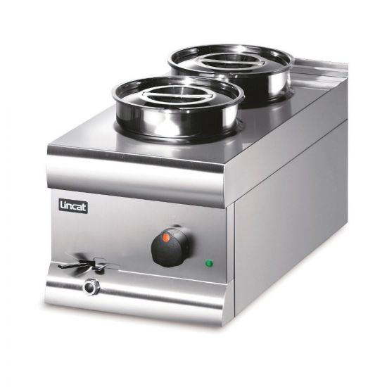 Silverlink 600 Electric Counter-top Bain Marie - Wet Heat - Round Pots - Base + 2 Pots - W 300 Mm - 1.0 KW LIN BS3W