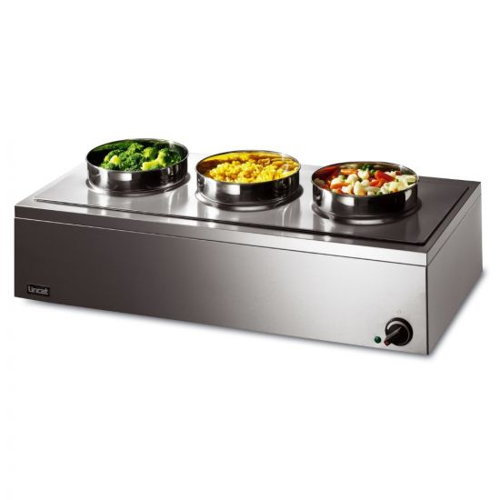 Lynx 400 Electric Counter-top Bain Marie - Dry Heat - Inc. 3 X Round Pots - W 850 Mm - 0.75 KW LIN LRB3