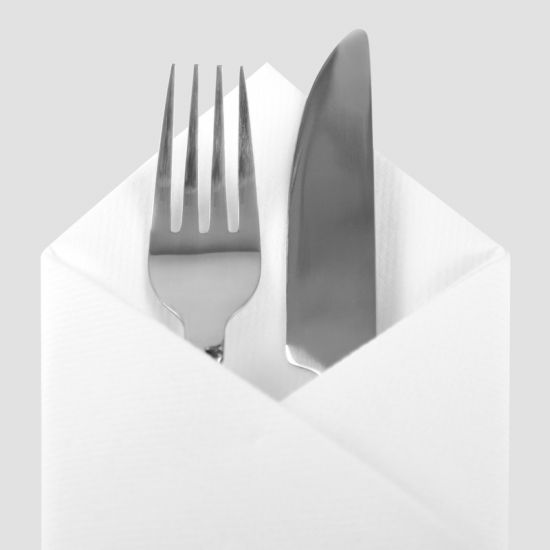 White 40cm Luxury Linen Feel Airlaid Paper Napkins Pack of 50