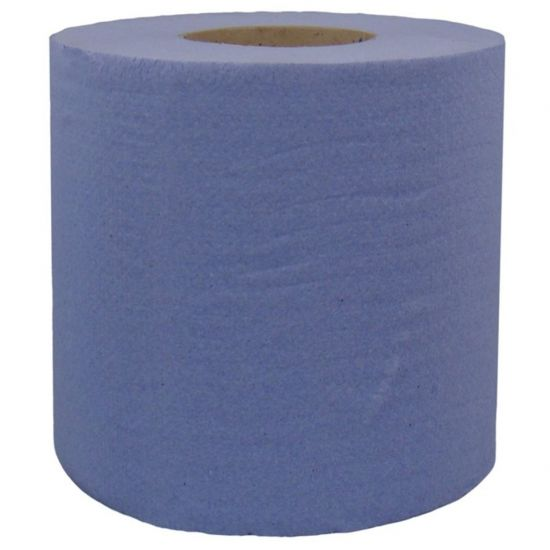 180mm X 200m - 1ply Embossed Blue Standard Centrefeed Rolls Pack Of (6 Rolls) POP PR300