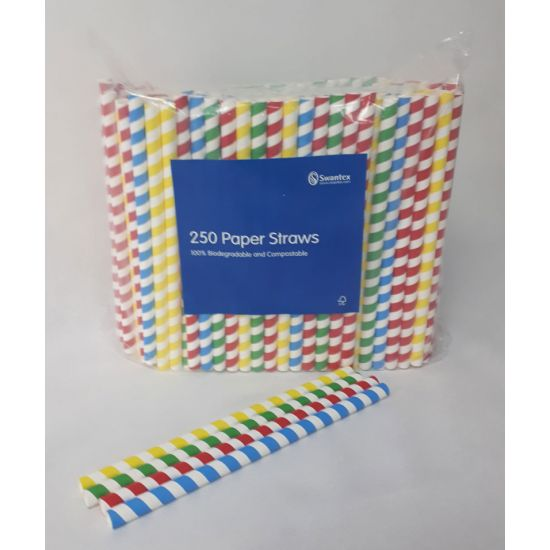 225 x 11mm Multi Coloured Jumbo Paper Straw Pack Of 250 Pack of 250 SWA MCJPS25012