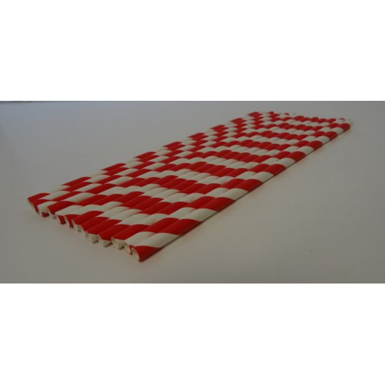 195 x 5mm Red And White Paper Straw Pack Of 250 Pack of 250 SWA RWPAP25012
