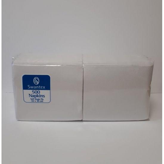 32 x 30cm 1Ply Serviettes - White Pack of 500 SWA SWS-500