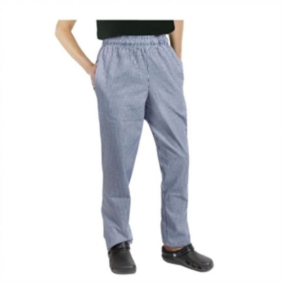 Chef Works Unisex Easyfit Chefs Trousers Small Blue Check XS URO A025-XS