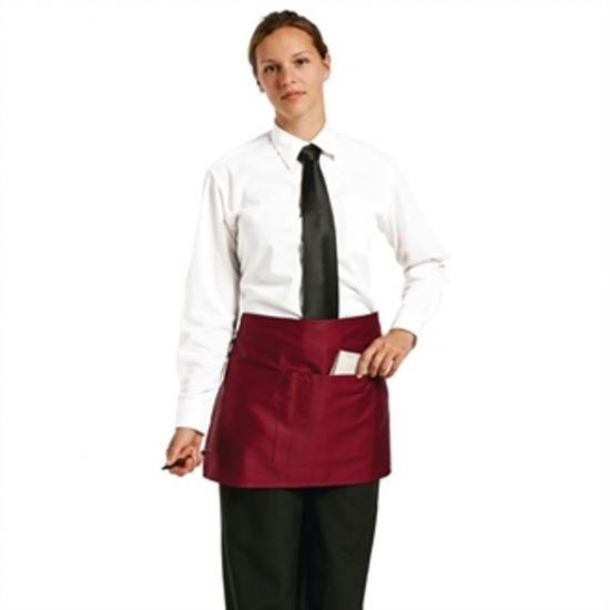Uniform Works Short Bistro Apron Burgundy URO A427