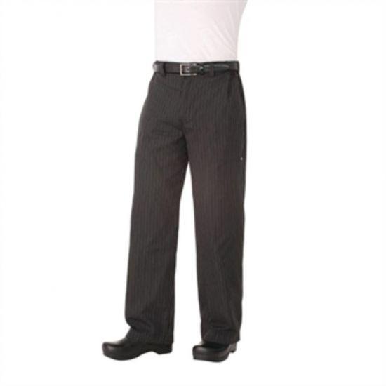 Chef Works Unisex Professional Series Chefs Trousers Grey Herringbone Stripe L URO A852-L
