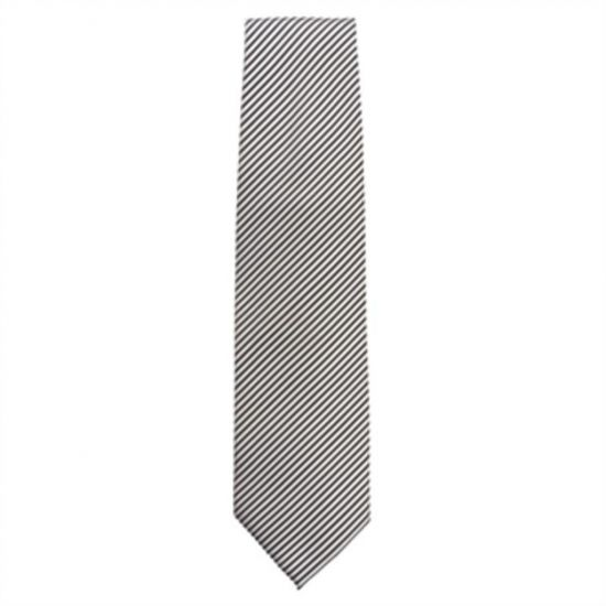 Uniform Works Tie Silver And Black Fine Stripe URO A886