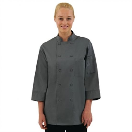 Colour By Chef Works Unisex Chefs Jacket Grey 2XL URO A934-XXL