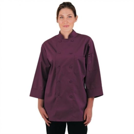 Colour By Chef Works Unisex Chefs Jacket Merlot XS URO A936-XS