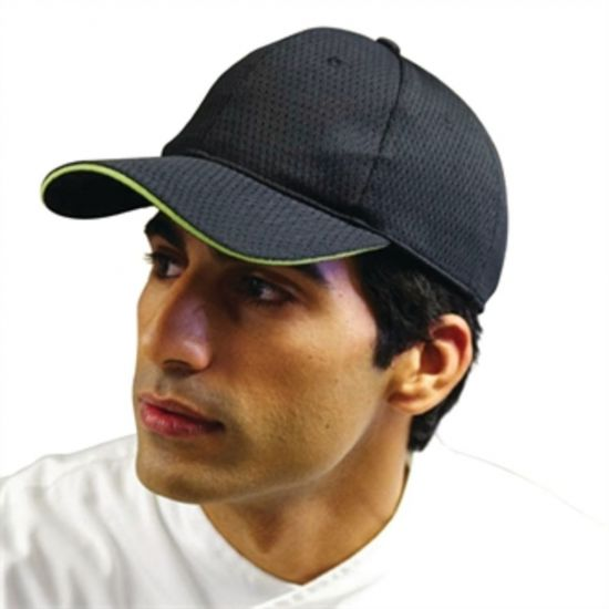 Colour By Chef Works Cool Vent Baseball Cap Black With Lime URO A941