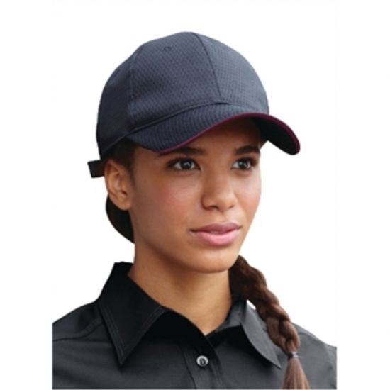 Colour By Chef Works Cool Vent Baseball Cap Black With Merlot URO A943