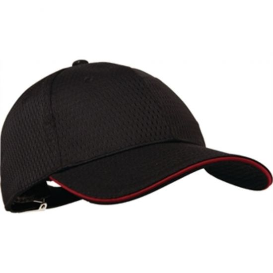 Colour By Chef Works Cool Vent Baseball Cap Black With Red URO A945