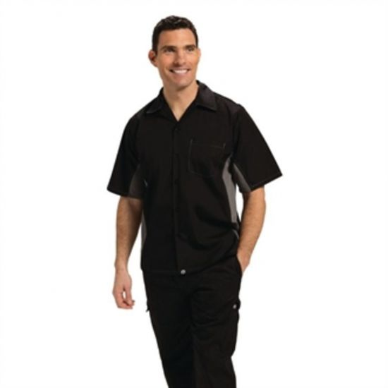Colour By Chef Works Unisex Contrast Shirt Black And Grey XS URO A948-XS