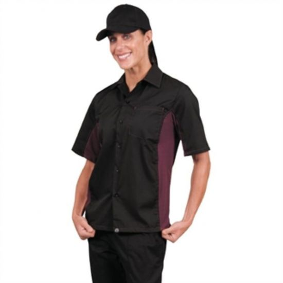 Colour By Chef Works Unisex Contrast Shirt Black And Merlot 2XL URO A950-XXL