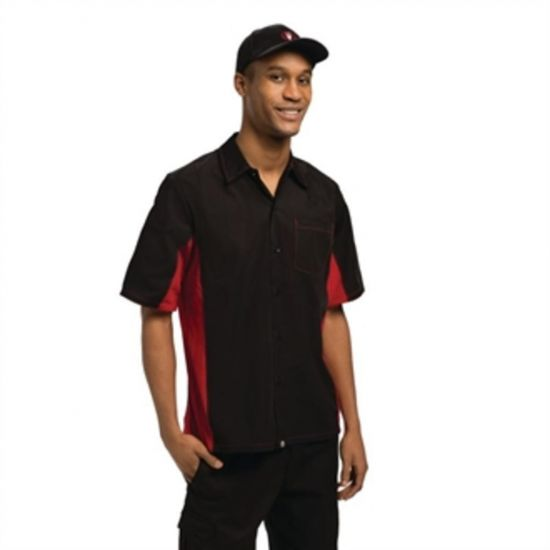 Colour By Chef Works Unisex Contrast Shirt Black And Red 2XL URO A952-XXL