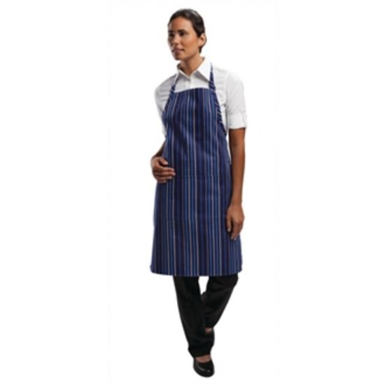 Chef Works Bib Apron Navy And Blue Stripe URO A972