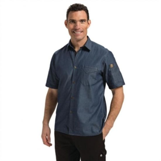 Chef Works Unisex Detroit Denim Short Sleeve Shirt Blue L URO B074-L