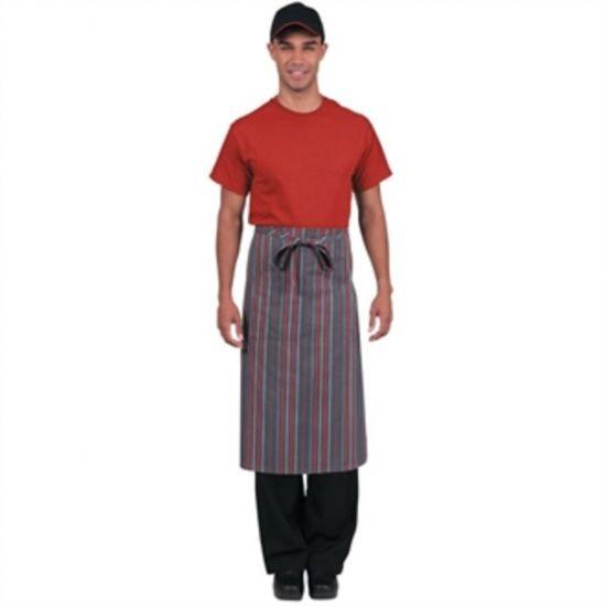 Chef Works Bistro Apron Grey Charcoal Red Stripe URO B108