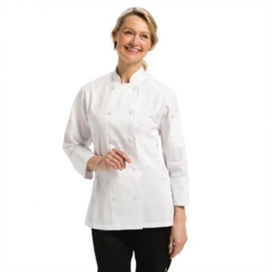 Chef Works Marbella Womens Executive Chefs Jacket White XL URO B138-XL