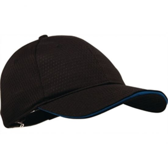 Colour By Chef Works Cool Vent Baseball Cap Black With Blue URO B171