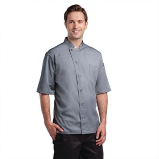 Chef Works Valais Unisex Chefs Jacket Black With Grey 2XL URO B185-XXL