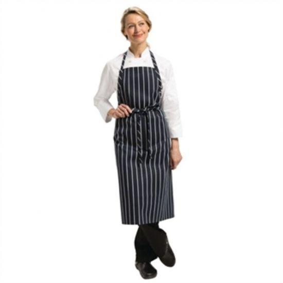 Chef Works Premium Woven Apron Navy And White Stripe URO B249
