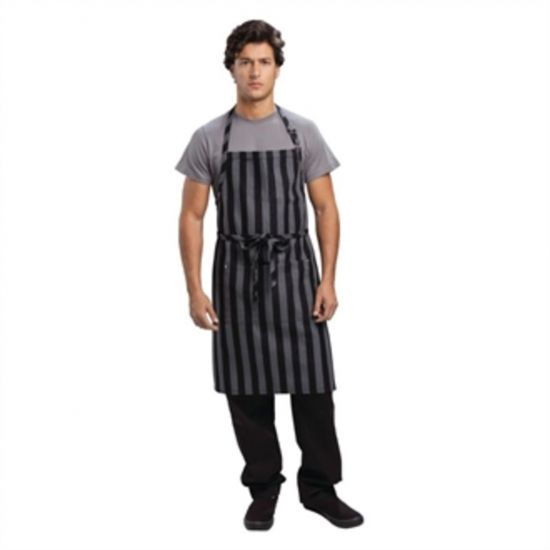 Chef Works Urban Chesapeake Wide Stripe Bib Apron Black URO B346