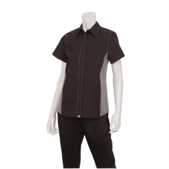 Chef Works Womens Universal Contrast Shirt Black Grey XL URO B673-XL