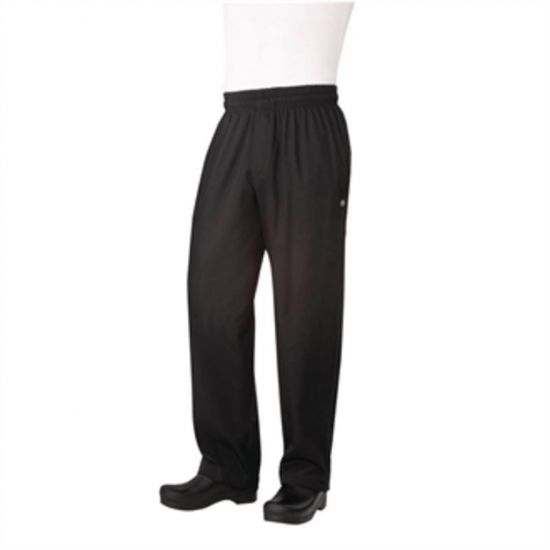 Chef Works Unisex Basic Baggy Zip Fly Chefs Trousers Black S URO B698-S