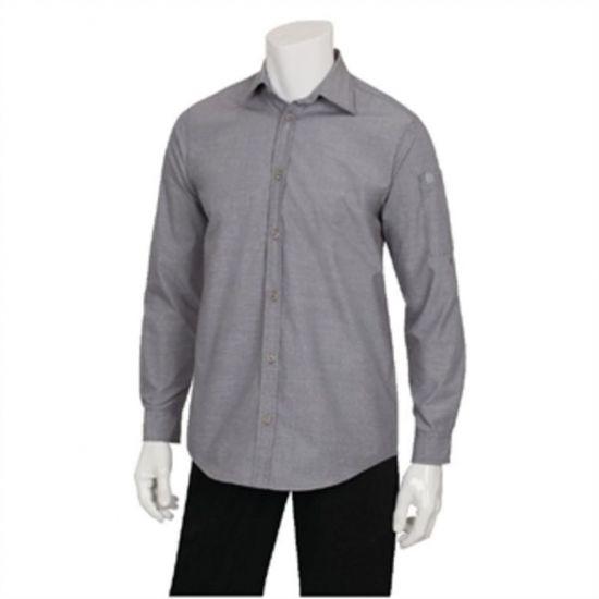 Chef Works Chambray Mens Long Sleeve Shirt Grey M URO BB066-M