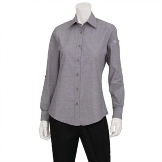 Chef Works Womens Chambray Long Sleeve Shirt Grey M URO BB074-M