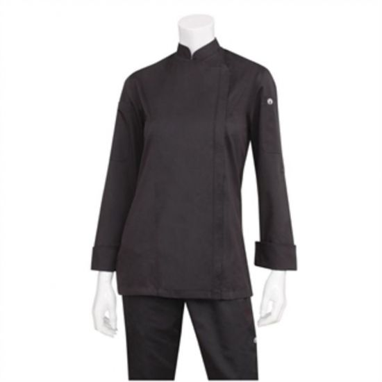 Chef Works Hartford Lightweight Zip Womens Chef Jacket Black S URO BB090-S
