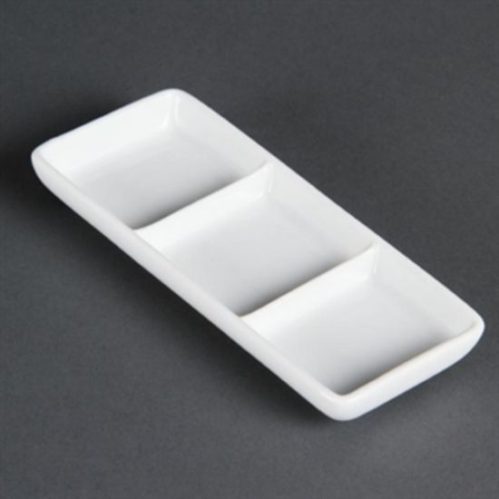 Olympia Whiteware 3 Section Dishes Box of 12 URO C336