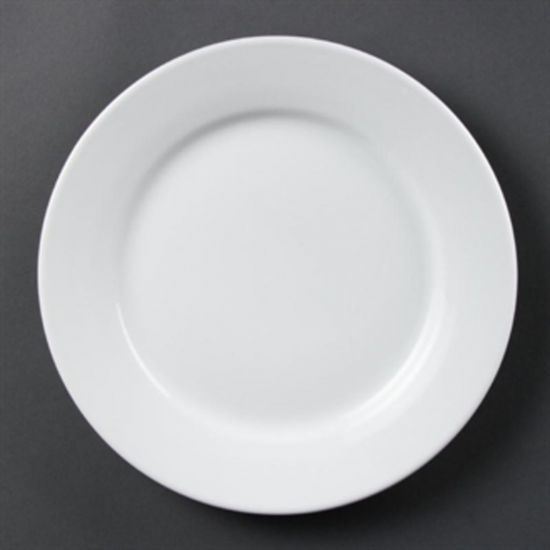 Olympia Whiteware Wide Rimmed Plates 250mm Box of 12 URO CB481
