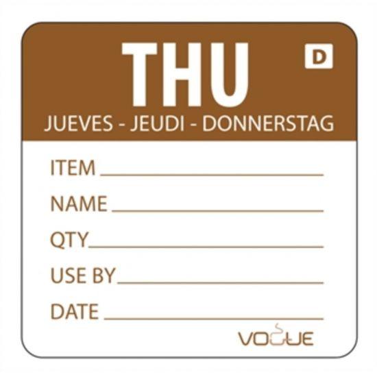 2 Inch Vogue Dissolvable Brown Thursday Labels URO GH354