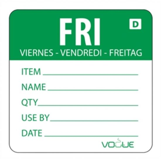 2 Inch Vogue Dissolvable Green Friday Labels URO GH355