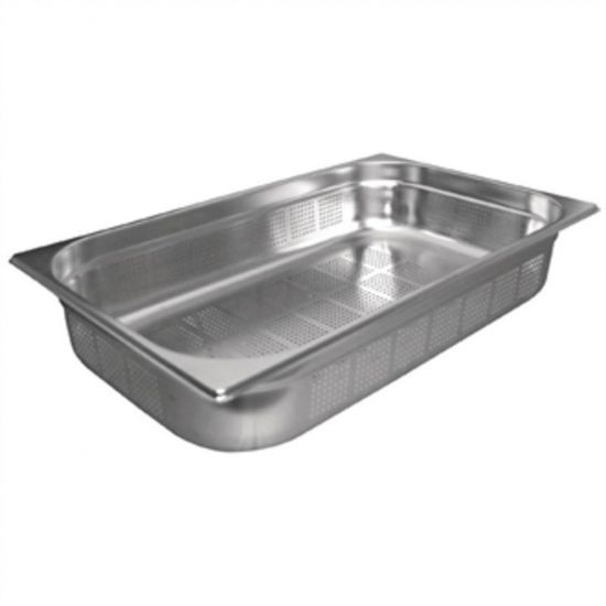 Vogue Stainless Steel Perforated 1/1 Gastronorm Pan 100mm URO K841