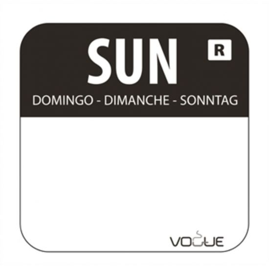 1 Inch Colour Coded Black Sunday Food Labels URO L930