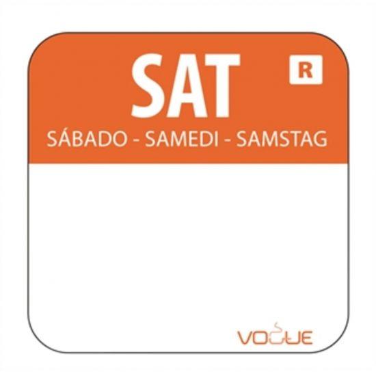 1 Inch Colour Coded Orange Saturday Food Labels URO L936