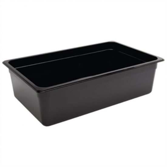 Vogue Polycarbonate 1/1 Gastronorm Container 150mm Black URO U456