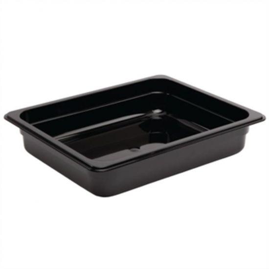 Vogue Polycarbonate 1/2 Gastronorm Container 65mm Black URO U458