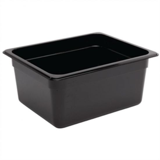 Vogue Polycarbonate 1/2 Gastronorm Container 150mm Black URO U460
