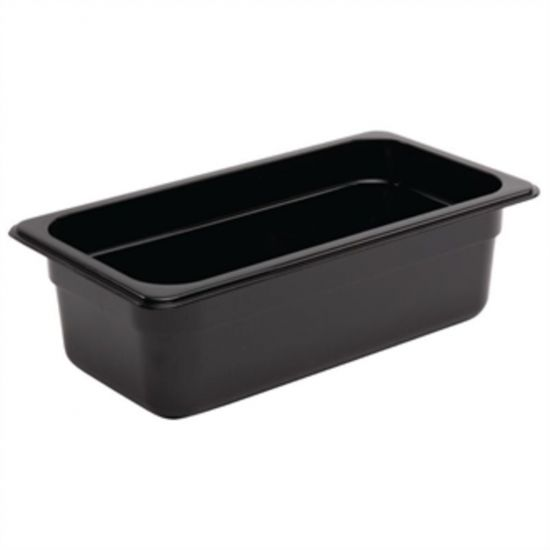 Vogue Polycarbonate 1/3 Gastronorm Container 100mm Black URO U463