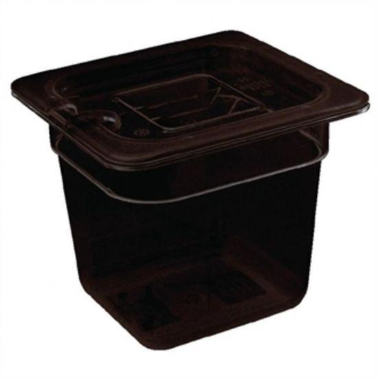 Vogue Polycarbonate 1/6 Gastronorm Container 65mm Black URO U469
