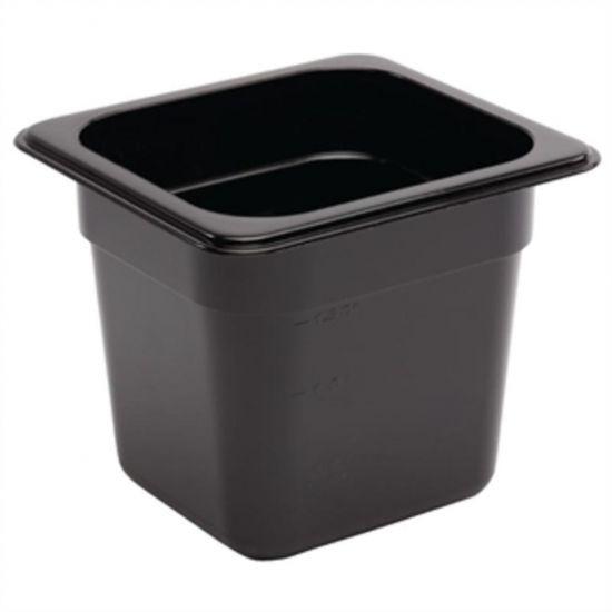 Vogue Polycarbonate 1/6 Gastronorm Container 150mm Black URO U471