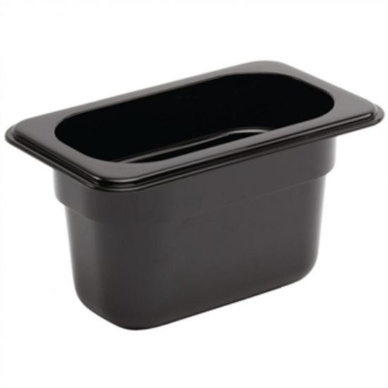 Vogue Polycarbonate 1/9 Gastronorm Container 100mm Black URO U473