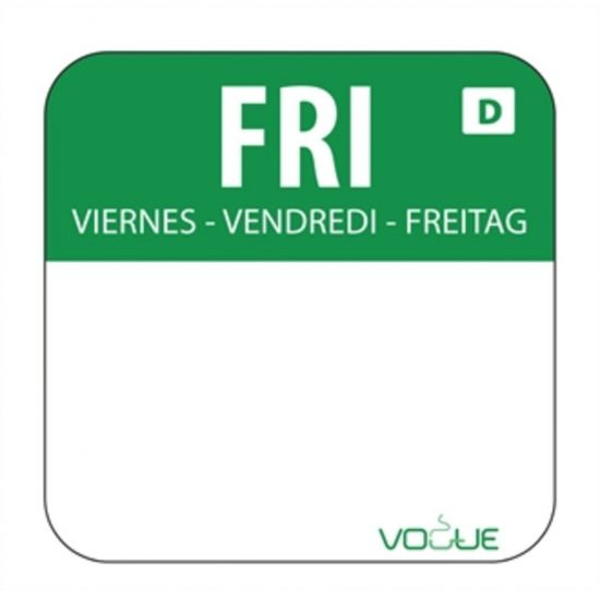 Dissolvable Friday Food Rotation Labels URO U781
