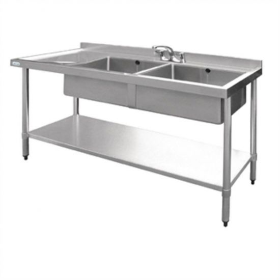 Vogue Stainless Steel Sink Double Bowl With Left Hand Drainer 1500mm URO U906