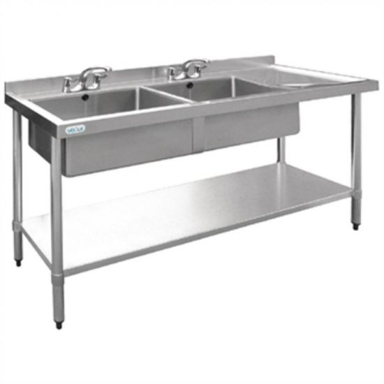 Vogue Stainless Steel Sink Double Bowl With Right Hand Drainer 1800mm URO U908